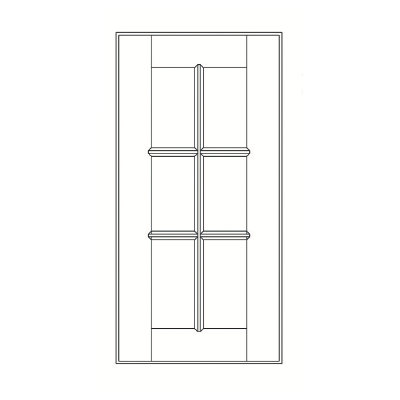 GHI Stone Harbor Gray Mullion Door 18W X 36H
