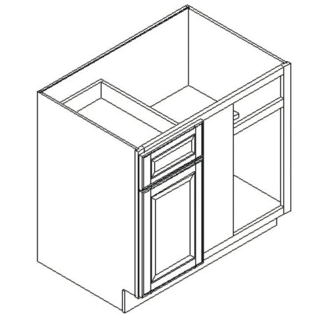 Feather Lodge Island Java Shaker Base Blind Corner Cabinet 42W X 34-1/2H