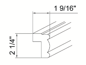 Feather Lodge Island Java Shaker Light Rail Molding 1-9/16W X 2-1/4H