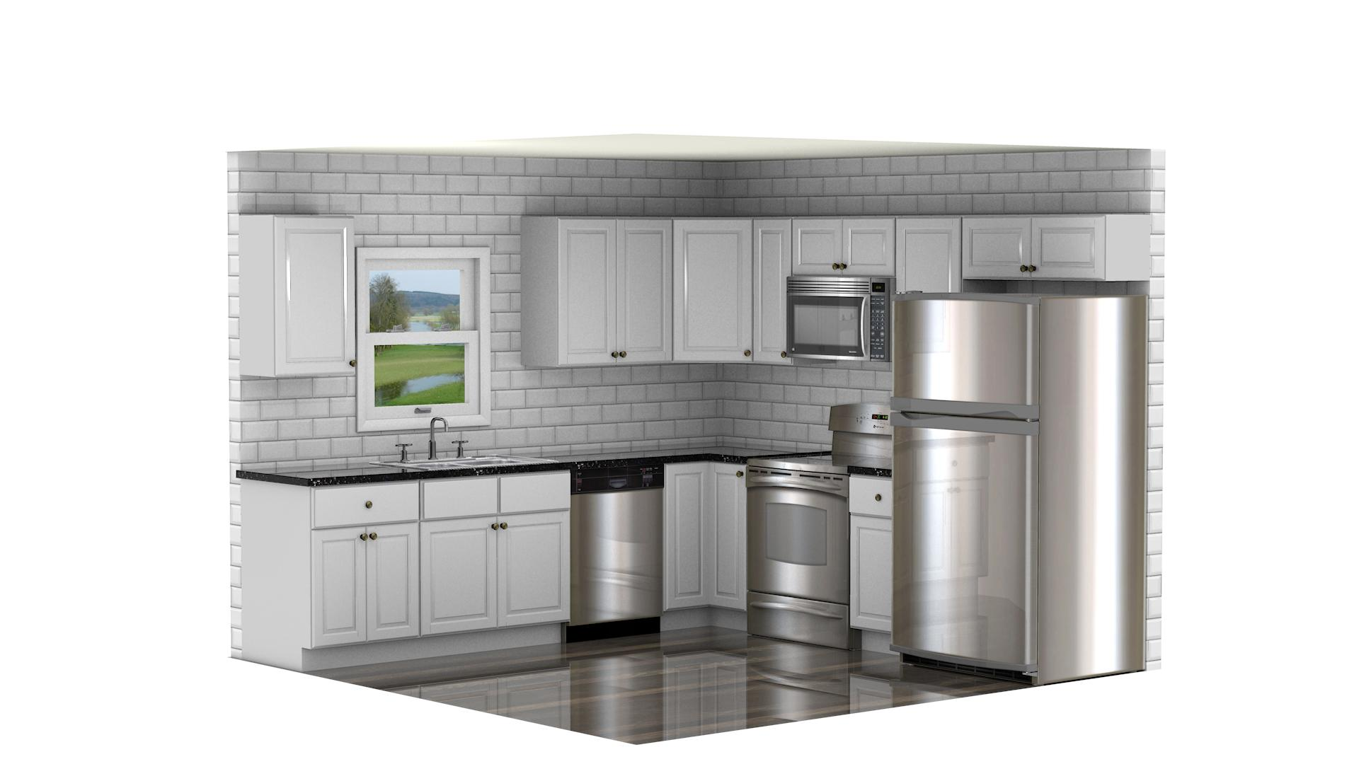 Grand Reserve Cherry Kitchen Cabinets With White Appliances White Slab Door Cabinets And