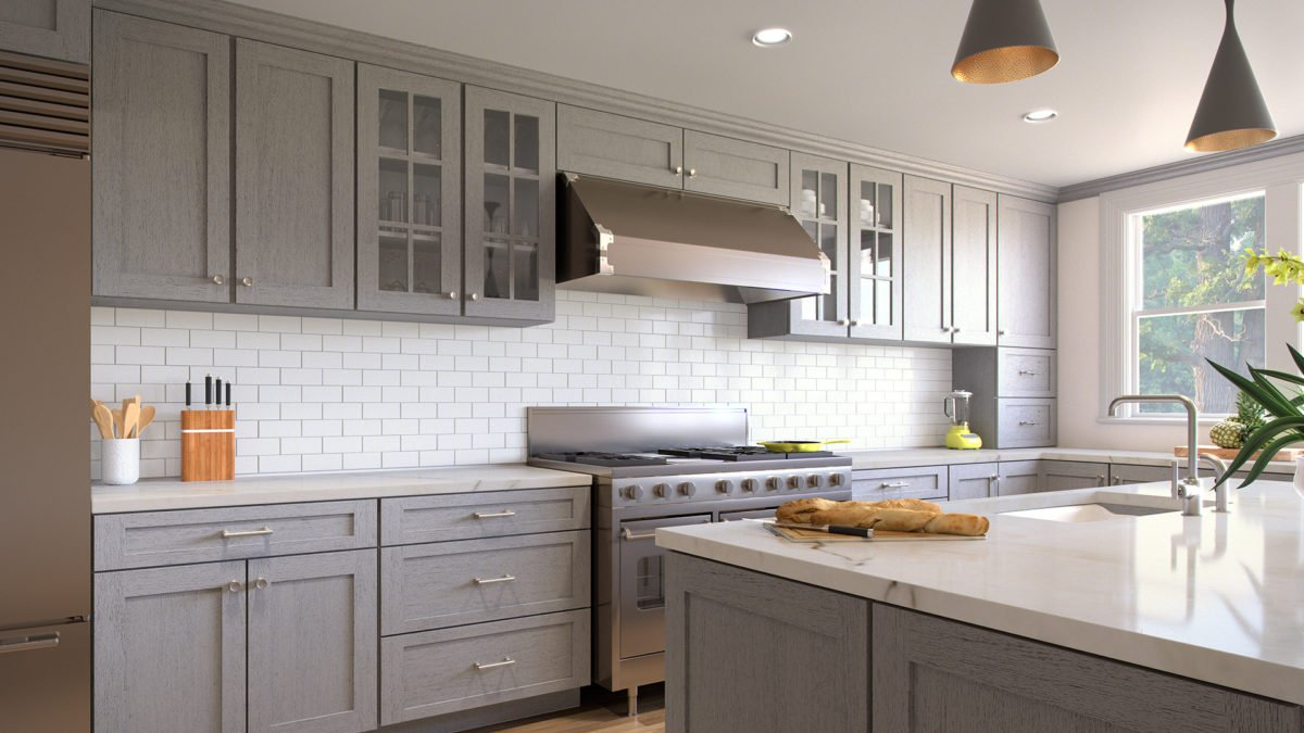 Forevermark Nova Light Grey Waverly Cabinets - Light grey shaker cabinets