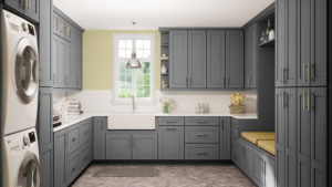 US Cabinet Depot Shaker Grey Laundry Room
