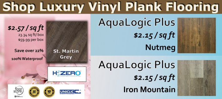 H2Zero Luxury Vinyl Plank Flooring Aqualogic Plus Iron Mountain, Nutmeg, and St. Martin Grey in Stock