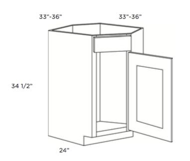 "Cabinets, Cubitac Ridgewood Cubiccino Cubitac Corner Sink Base Cabinet 33"" or 36"""