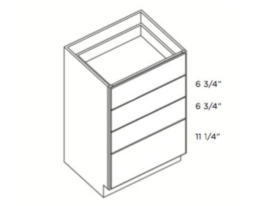 Cabinets, Cubitac Dover Cafe Cubitac Four Drawer Base Cabinet DB15-4 or DB18-4 or DB21-4 or DB30-4
